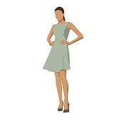 Young woman in summer dress, geometric flat design vector illustration