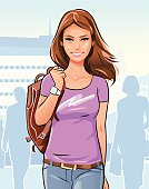A young woman with a backpack walking in the city.  EPS 10, fully editable and labeled in layers.