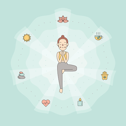young woman in tree yoga pose simple outline design stock