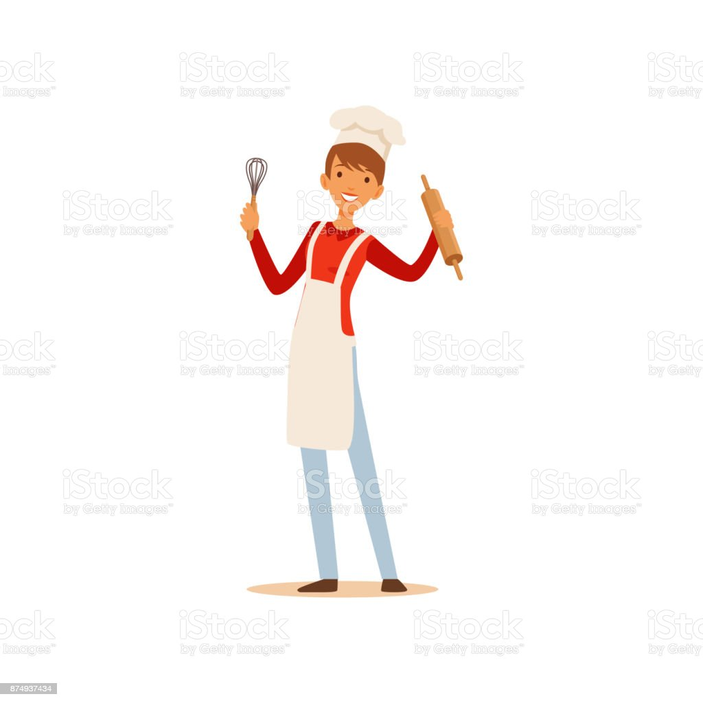Young woman in white apron and chef hat standing and holding whisk and rolling pin, housewife girl cooking food in the kitchen flat vector Illustration vector art illustration