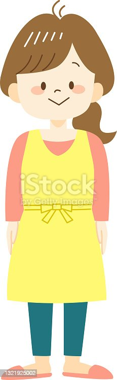 istock Young woman in yellow apron 1321925002