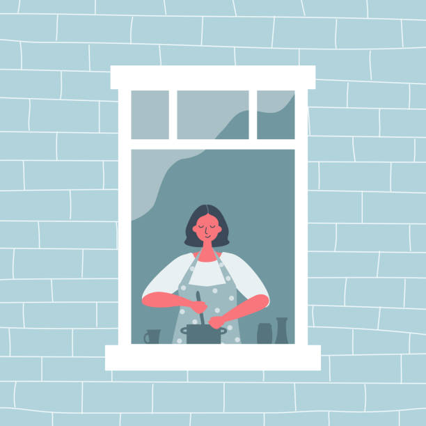Young woman is cooking at an open window. View from the street side vector art illustration