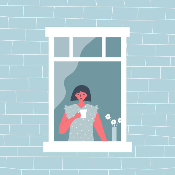 Young woman is drinking coffee by the open window. View from the street side vector art illustration