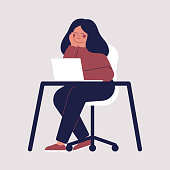 Young woman is sitting at the table with laptop and thinking about something. Girl is smiling with a good idea and dreaming. Vector character illustration