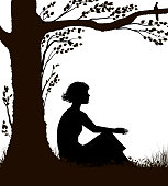 young woman is sitting under the tree in hot summer day, woman rest,  summer memories, black and white, vector