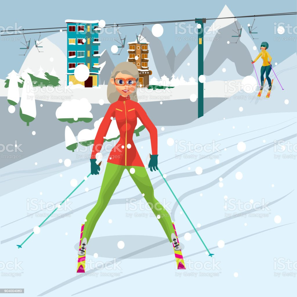 Young woman is skiing at a resort vector art illustration