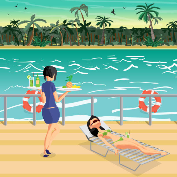 junge frau wird in einem liegestuhl im bikini sonnen. - holzdeck stock-grafiken, -clipart, -cartoons und -symbole