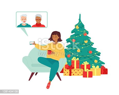Young woman is talking with elderly parents on a video call. Concept Merry Christmas and Happy New Year greetings to grandparents, retirees, seniors in the distance by smartphone. Isolated vector illustration