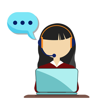Young woman is working on a laptop. Call center. The girl answers the call, support service. Online consultation, online help. Vector flat illustration.customer service representative.