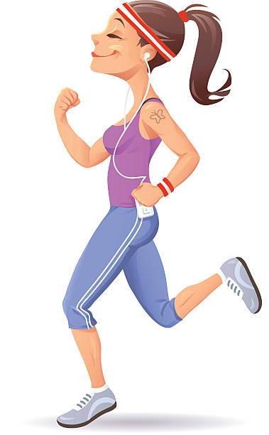 Young Woman Jogging vector art illustration