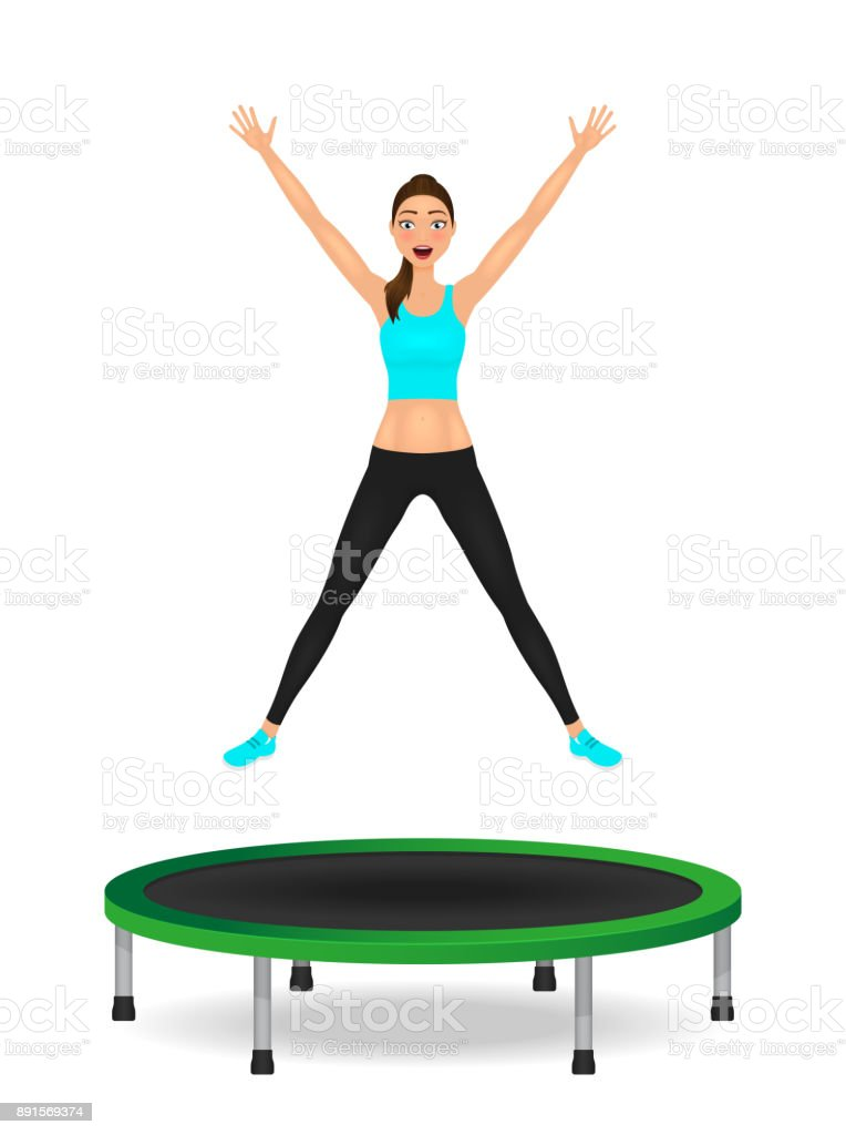 Young woman jumping on trampoline. Pretty fit girl in leggings and crop top with hands up. vector art illustration