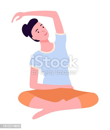 Young woman keep calm, making yoga, stretching exercises, bend over in side isolated at white