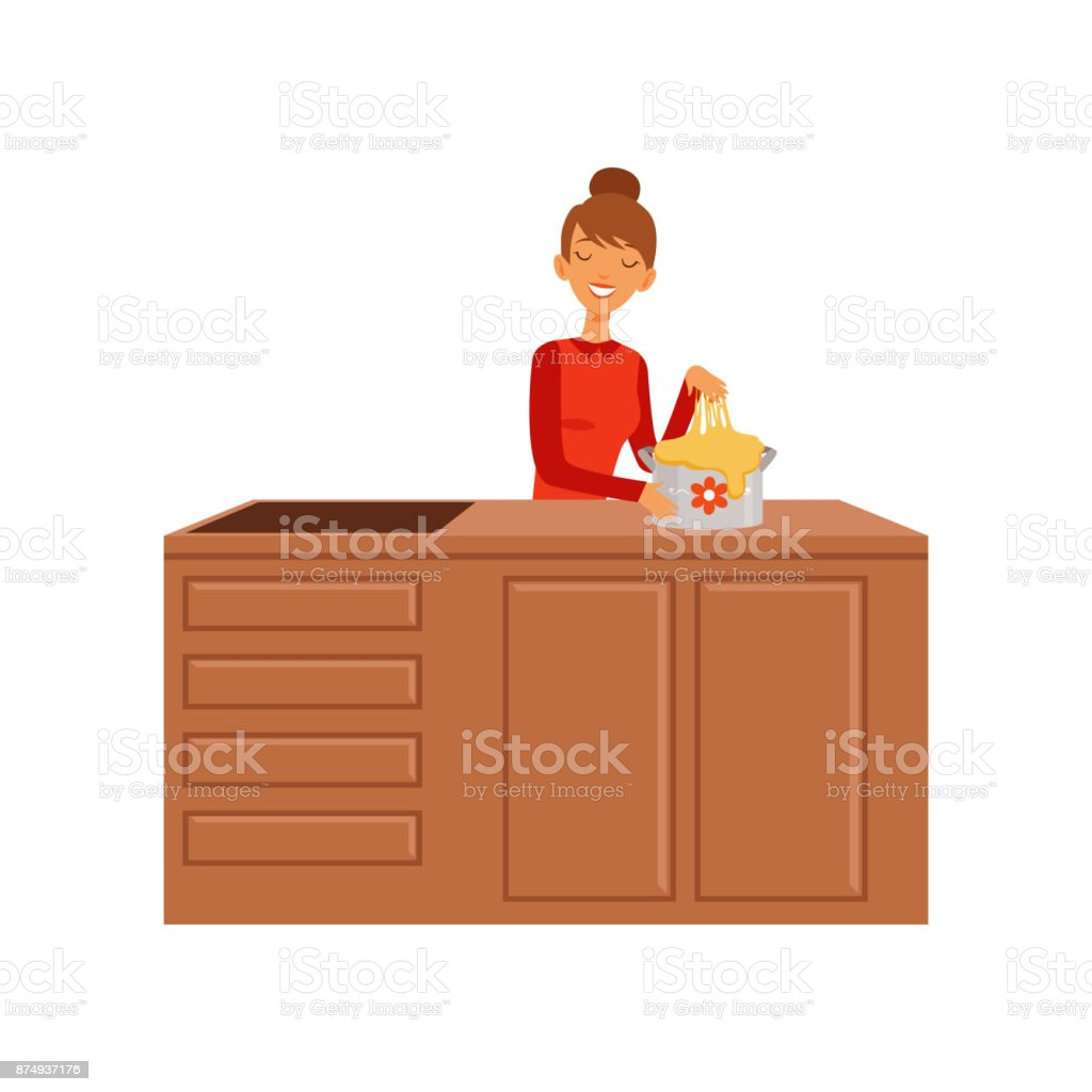 Young woman kneading dough, housewife girl cooking food in the kitchen flat vector Illustration vector art illustration