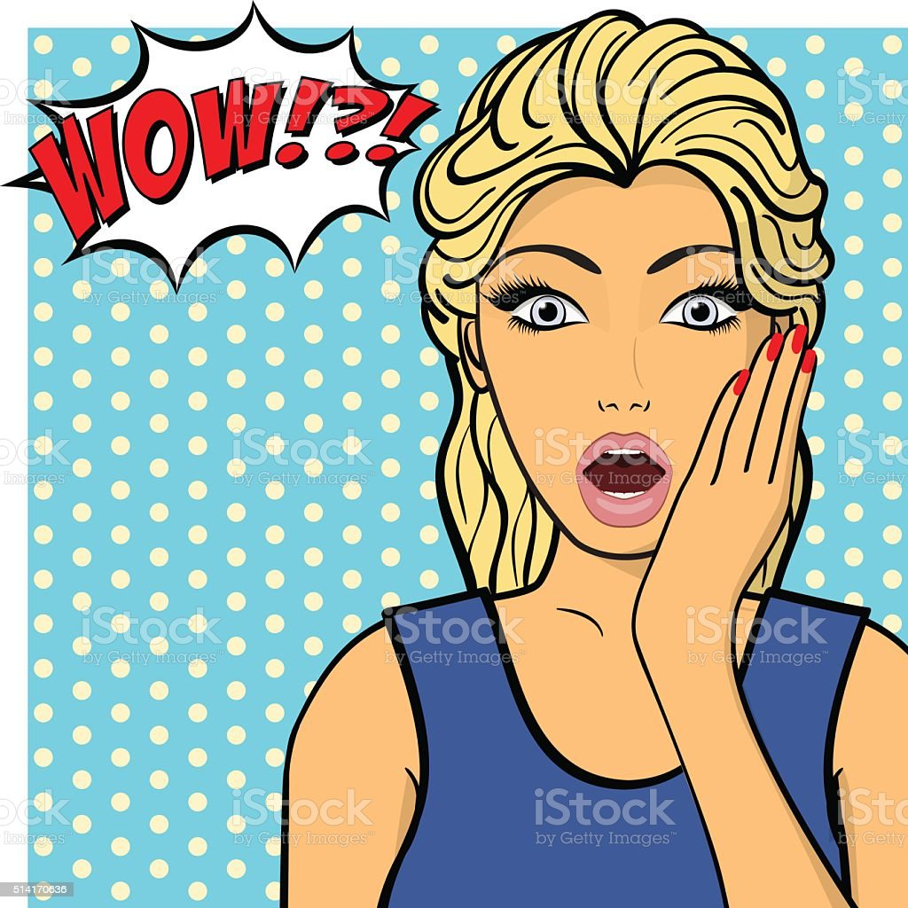 Young woman, lady shows amazement, shok. Comic style vector art illustration