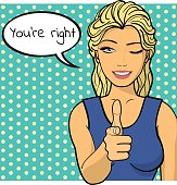 Young woman,lady shows you're right sign. Vector illustration. Pop art comics style