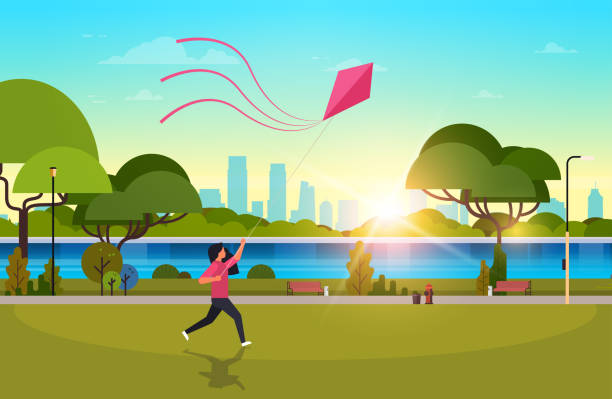young woman launching kite outdoors modern public park girl playing wind toy holiday concept cityscape sunset background horizontal flat young woman launching kite outdoors modern public park girl playing wind toy holiday concept cityscape sunset background horizontal flat vector illustration waterfront stock illustrations