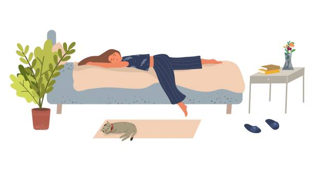 illustrazioni stock, clip art, cartoni animati e icone di tendenza di young woman lies on the bed and sleeps vector illustration in flat style. - divano procrastinazione