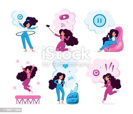 Young Woman Lifestyle Routine Vector Character Set