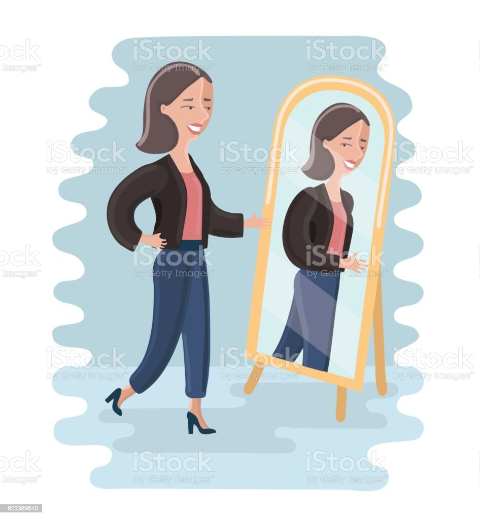 Junge Frau betrachtet sich im Spiegel im Ankleidezimmer. – Vektorgrafik