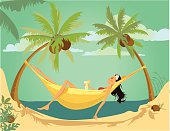 Illustration of a girl lying down in a hammock in a paradise island.