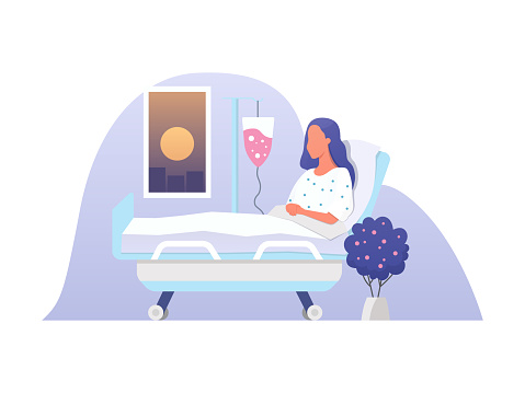 Young woman lying in a medical bed. Hospitalization vector illustration in a flat style. Patient during blood transfusion procedure.
