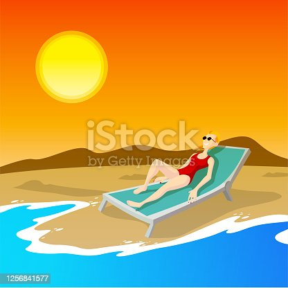 istock Young woman lying on deckchair 1256841577