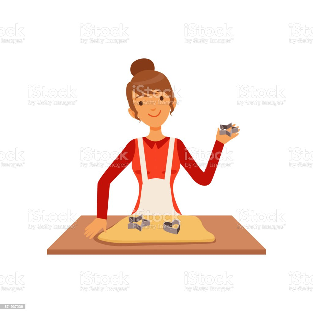 Young woman making pastry, housewife girl cooking food in the kitchen flat vector Illustration vector art illustration