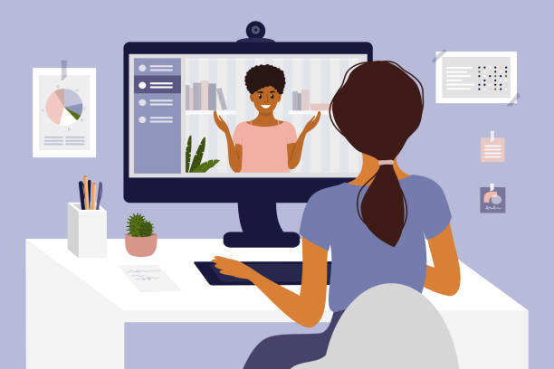 Young woman making video call through computer Online courses, studying or education. Video call, networking or conference by computer. Team work, talking with partner. Hiring, job interview, employment. Home office, work place vector illustration interview event stock illustrations
