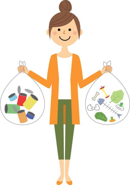 illustrazioni stock, clip art, cartoni animati e icone di tendenza di young woman, mama, garbage disposal - solo giapponesi