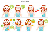 Young Woman Mask Her Face With Natural Facial Mask, Yogurt And Fruits