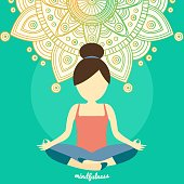 Healthy lifestyle and mindful meditation concept illustration vector.