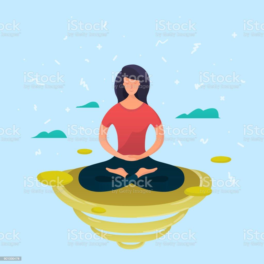 Young woman meditating in lotus pose vector art illustration