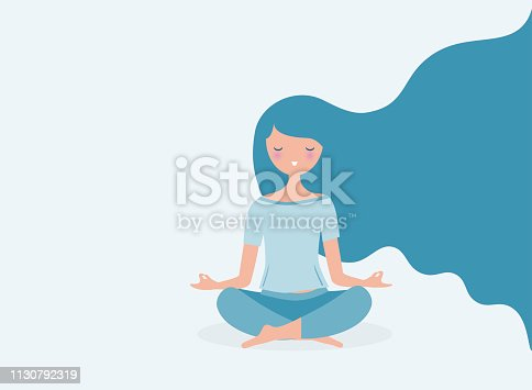 Young woman meditating vector. Relax concept illustration. Modern long hair flowing.