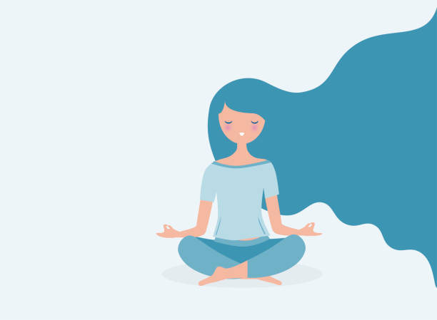 young woman meditating vector. relax concept illustration. modern long hair flowing. - mindfulness stock illustrations