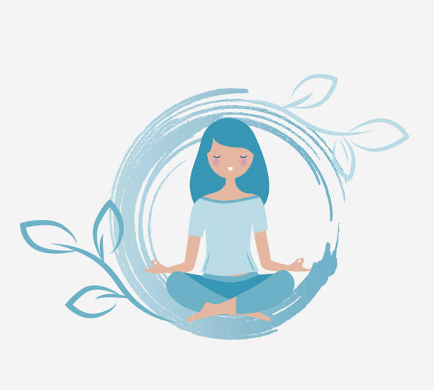 Young woman meditating vector Young woman meditating vector. Relax concept illustration. Energy flowing around her. meditation stock illustrations