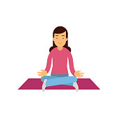 5997f886b0e7 ... Young woman meditating with closed eyes and crossed legs. Female  sitting in lotus yoga pose ...