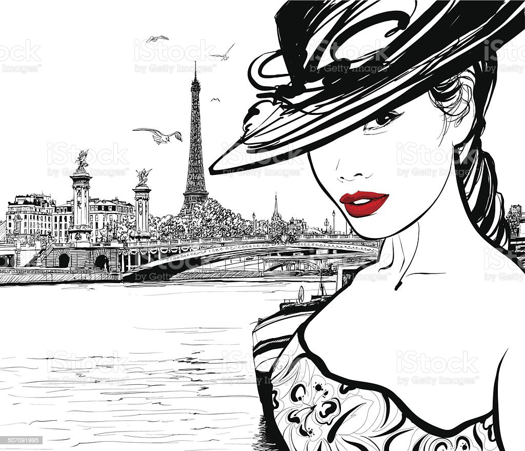 Young woman near the Seine river in Paris vector art illustration