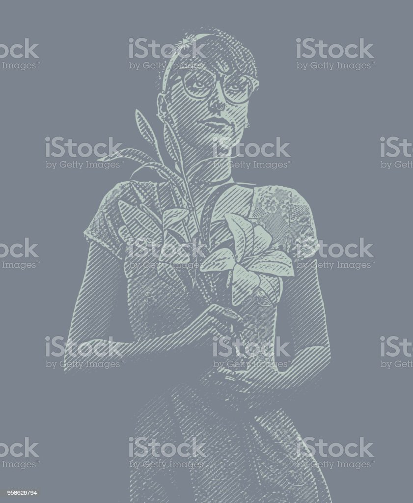 Young woman nerd day dreaming about romance vector art illustration