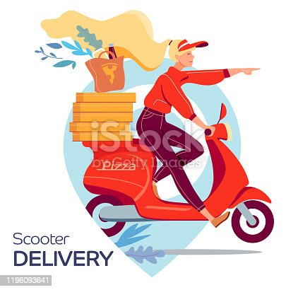 woman scooter delivery pizza, flat vector illustration