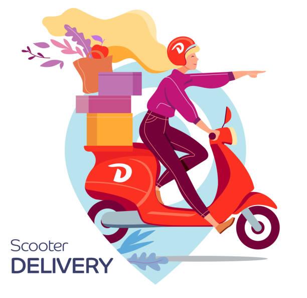 illustrazioni stock, clip art, cartoni animati e icone di tendenza di young woman on a scooter delivers to order, flat vector illustration - solo una donna giovane