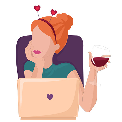 Young woman on online dating. Online chatting and drinking red wine. Flat vector illustration for web, landing page, banner