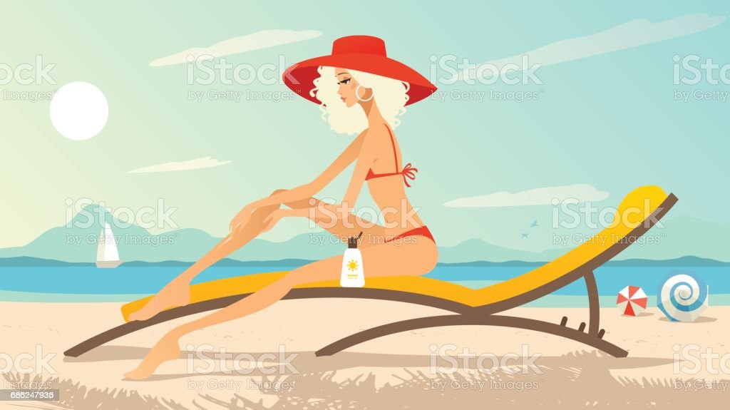 Young woman on the beach applying suntan lotion vector art illustration