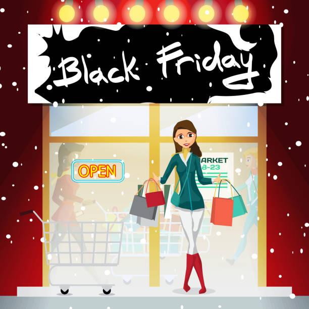 ilustraciones, imágenes clip art, dibujos animados e iconos de stock de mujer joven en el porche del supermercado en el día de las ventas de viernes negro - black friday sale