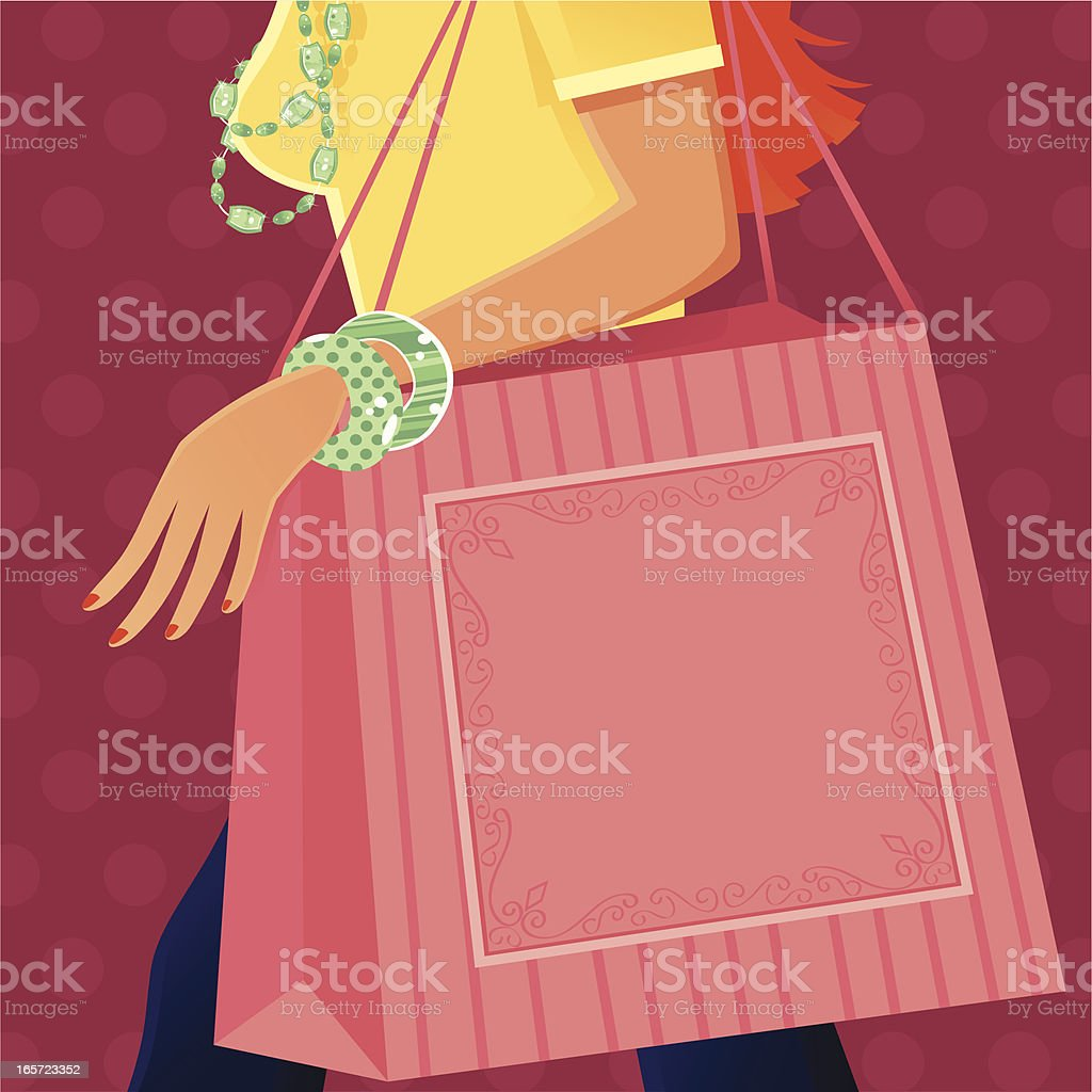 Young woman out shopping vector art illustration