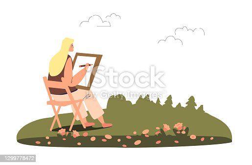 istock Young woman painter creating picture in open air, female plein air artist drawing landscape 1299778472