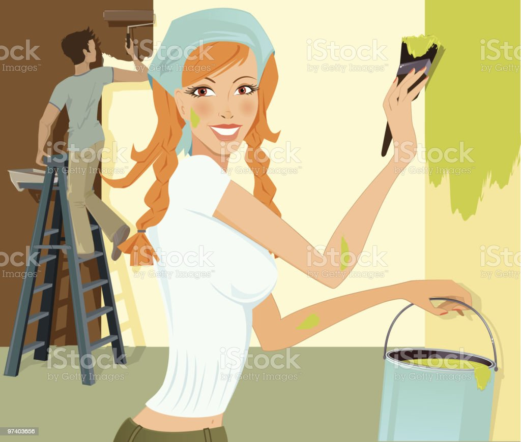 Young Woman Painting Walls of Room with Man in Background royalty-free young woman painting walls of room with man in background stock vector art & more images of adult