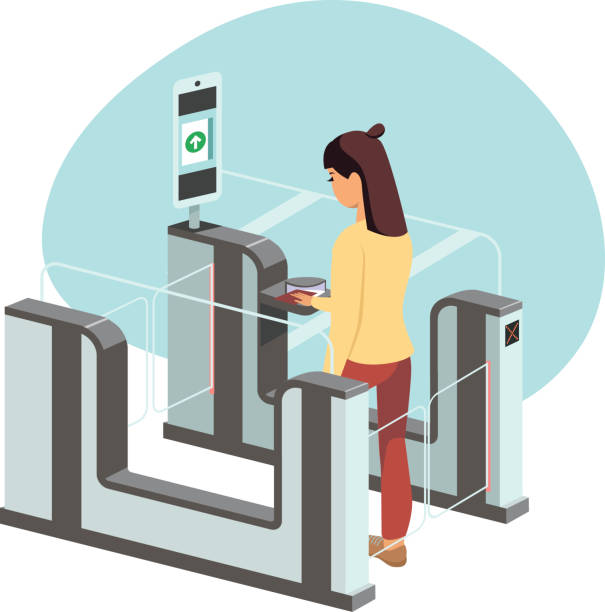 Young woman passing through automated passport border control gates Young woman passing through automated passport border control gates flat vector illustration airport borders stock illustrations