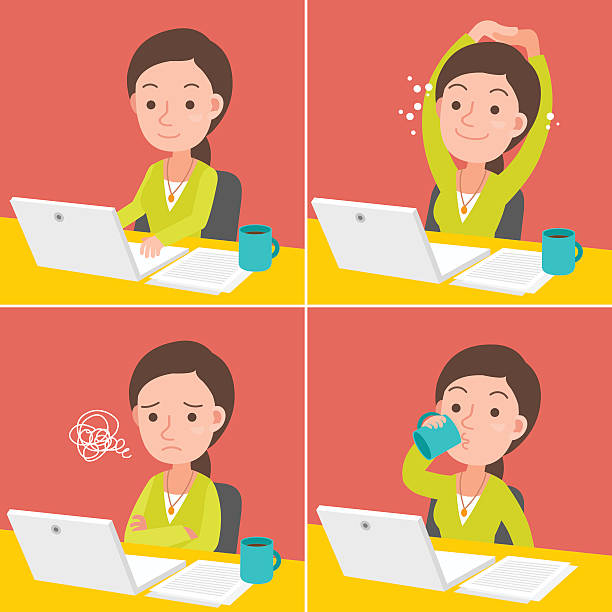 young woman pc operation variation. - home stock illustrations