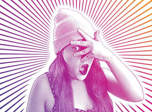 illustrazioni stock, clip art, cartoni animati e icone di tendenza di young woman peeking through fingers - donna si nasconde