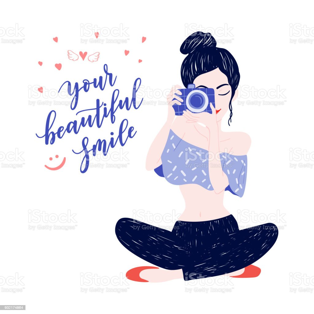 Young woman photographer with wings, crown, hearts,camera. Vector illustration of pretty teenager girl with black hair style. Beauty symbol, icon on white background, poster, clothes print vector art illustration